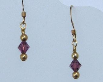 Petite Purple Crystal Earrings on Gold Filled Ear Wires, Minimalist Jewelry