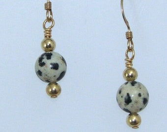 Dalmation Jasper Earrings on Gold Filled Ear Wires, Natural Stone Jewelry, Gift for Her