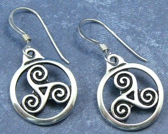 d3f5a765f Triskele Earrings on Sterling Silver Ear Wires, Silver Triskele Charms, Celtic  Jewelry, Celtic Triskele Earrings, Triple Spiral Earrings