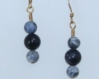 Blue Denim Sodalite on Gold Filled Ear Wires, Blue and Gold Natural Stone Jewelry, Gift for Her