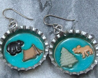 Camping Themed Bottle Cap Earrings on Hypoallergenic Ear Wires, Quirky Jewelry for the Hiker or Camper
