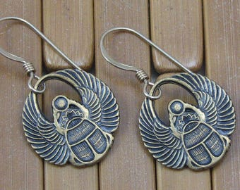 Gold Winged Scarab Earrings on Gold Filled Ear Wires, Scarab Jewelry, Egyptian Scarab Earrings, Egyptian God Ra, Gift for Her