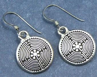 Silver Labyrinth Earrings on Sterling Silver Ear Wires, Labyrinth Jewelry, Silver Labyrinth Charm, Silver Maze Earrings, Maze Charm