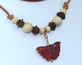 Carnelian Butterfly Pendant on Wood Beaded Leather Necklace, Natural Stone Butterfly Jewelry