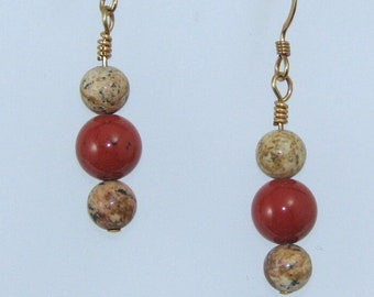 Red Jasper and Picture Jasper Earrings on Gold Filled Ear Wires, Natural Stone Jewelry, Gift for Her