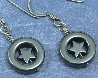 Hematite Star Earrings on Sterling Silver Ear Wires, Star Jewelry, Celestial Star Earrings, Hematite Jewelry, Gunmetal Gray Earrings