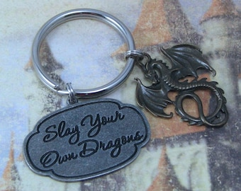 Dragon Keychain with Slay Your Own Dragons Charm, Brass Dragon Charm, Fantasy Keychain, Dragon Slayer, Dragon Key Ring, Fantasy Dragon Charm