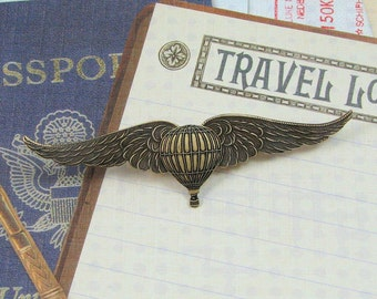 Steampunk Airship Pirate Winged Balloon Pin, Airship Captain Steampunk Accessories, Gift for Him