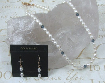 Pearl Necklace and Earring Set with Blue Crystals, 18 Inch Genuine Pearl Jewelry Set, Gift for Her