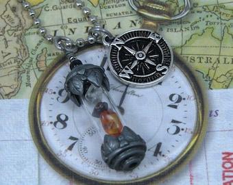 Time Traveler's Amulet Necklace, Vial Pendant, Time Traveler's Pendant, Natural Stone Pendant, Time Travel Charm, Amulet Pendant