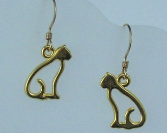 Gold Cat Earrings on Gold Filled Ear Wires, Cat Charms, Feline Jewelry, Nickel Free Kitty Earrings, Cat Lover, Gift for Her, Cat Jewelry