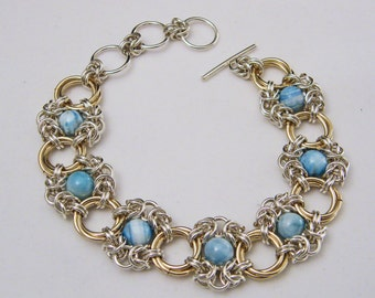 Sterling Silver and Gold Filled Hemi-Morphite Romanov and Mobius Chain Maille Bracelet