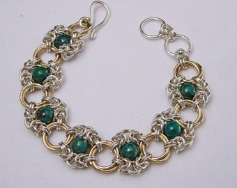 Sterling Silver and Gold Filled Chrysocolla Romanov and Mobius Chain Maille Bracelet
