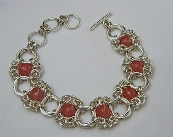 Sterling Silver Cherry Quartz Romanov and Mobius Chain Maille Bracelet