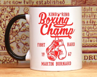 Boxing gloves personalized mug champion boxer birthday gift boxing mug boxing poster style boxing coach for him for her fighter coffee mug