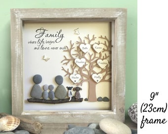Pebble art Family Tree, family gift, Fathers gift, Picture ideal unique gift for families, Adoption gift, unique gifts made to order 23cm