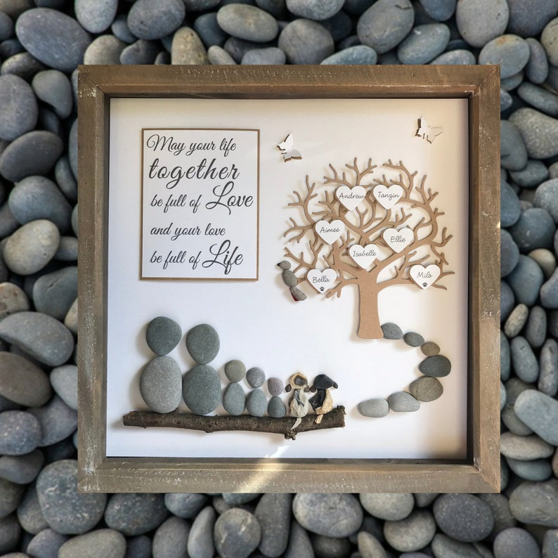 Pebble Art Family Tree Gallery wall home decor hand made to order unique Wedding gift personalised /& customised to the couple family 33cm