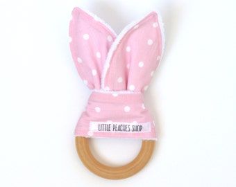 Pink Bunny Teether Baby Teether Stim Toy Wooden Teether Teething Toy Teething Ring Baby Montessori Toy Best Bunny Teether Baby Shower Gift