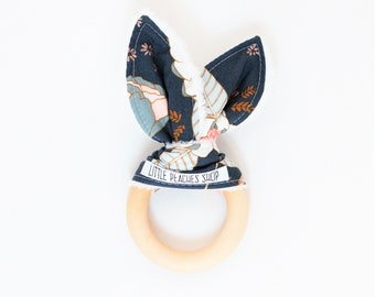 Bunny Teether Bunny Ear Teether Teething Ring Lovie Wooden Teether Baby Easter Basket Easter Bunny Teething Ring Baby Christmas Gift