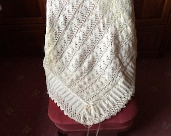 Hand Knitted Heirloom Christening Blanket