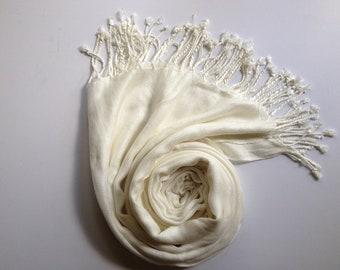 IVORY PASHMINA, ivory shawl, pashmina shawl, pashmina scarf, scarf, shawl, scarves