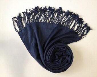 NAVY PASHMINA, navy shawl, pashmina shawl, pashmina scarf, scarf, shawl, scarves