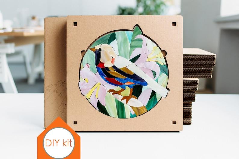 Bird art kit Mosaic making DIY Craft kits for adults Mosaic kit DIY kit  Mosaic handmade Stained glass supply Mosaic Birthday gift for woman