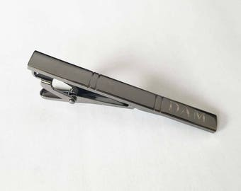 Set of 1 to 12 Groomsmen, Groomsman, Best man gift for him , man - Personalized,Engraved,Monogrammed Tie Clip-TC81-Gunmetal Black