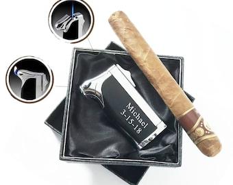 Set of 1 to 12 Bulk discount-Personalized Cigar torch lighter, Cigar cutter,Butane lighter-Father's day, Groomsmen, Best man gift-The Duplex