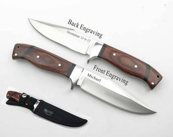 Set of 1 to 12 bulk discount Groomsmen Gift-Personalized Hunting Knife, Engraved , Camping Knife ,Groomsman wooden knife-gift for men KC68