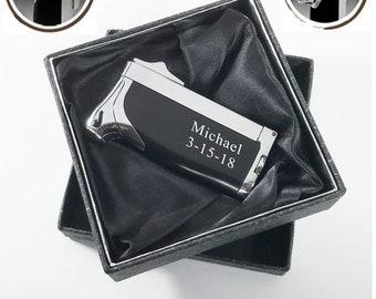 Set of 1 to 12 Bulk discount-Personalized Cigar torch lighter, Cigar cutter, Butane lighter-Anniversary, Groomsman, Best man gift-The Duplex