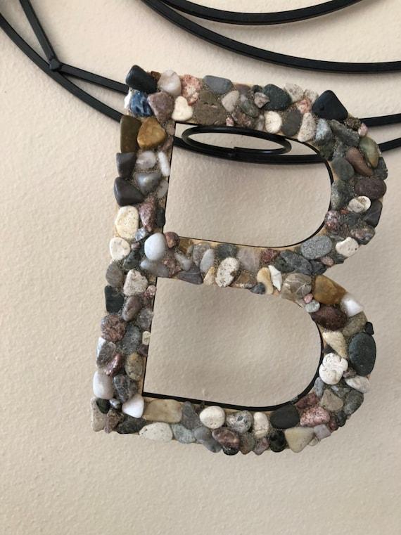 Letter B polished rock wall decor desk entry wedding teen