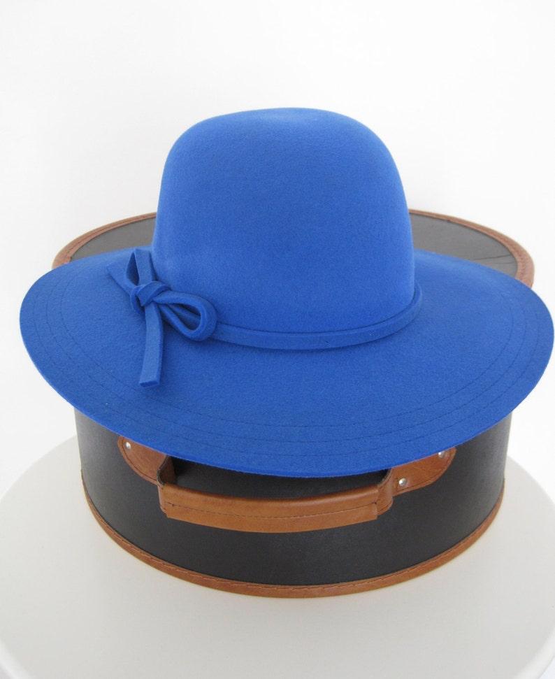 Women Wide brim Hat Capeline Floppy Hat in Royal Blue  6c4c090310d
