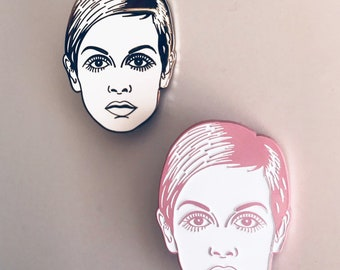 Twiggy 60s Warhol Muse It Girl Hard Enamel Pin