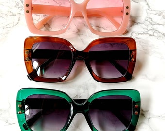 New! The Natalia Sunglasses Oversized Large Square Retro Sunnies with Metal Dots