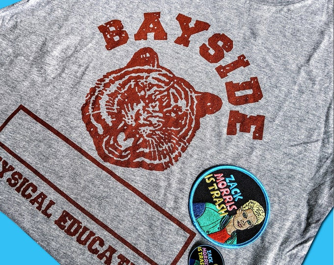 Saved By the Bell Bayside Gym tshirt Zack Morris is Trash pin, patch bundle pack