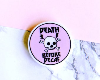 Death Before Decaf Skull Pastel Pop Socket Phone Handle