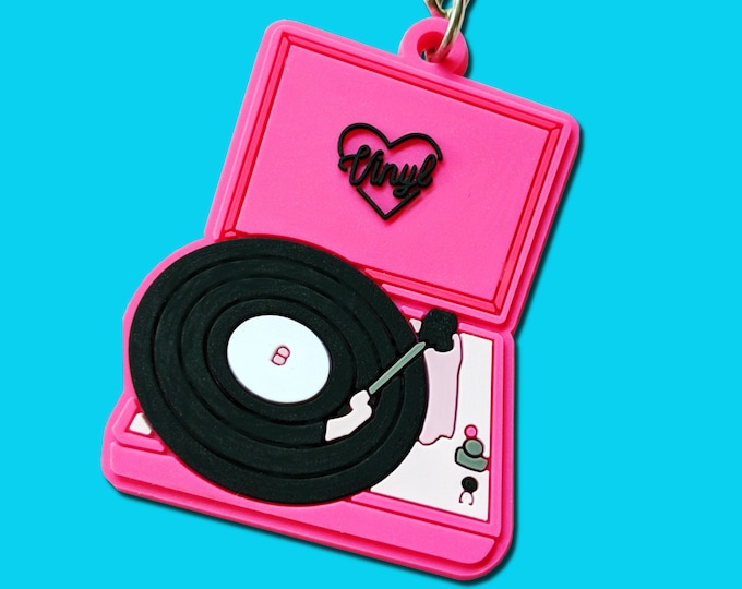 Vinyl Record Player Hot Pink Black Plastic Retro Keychain