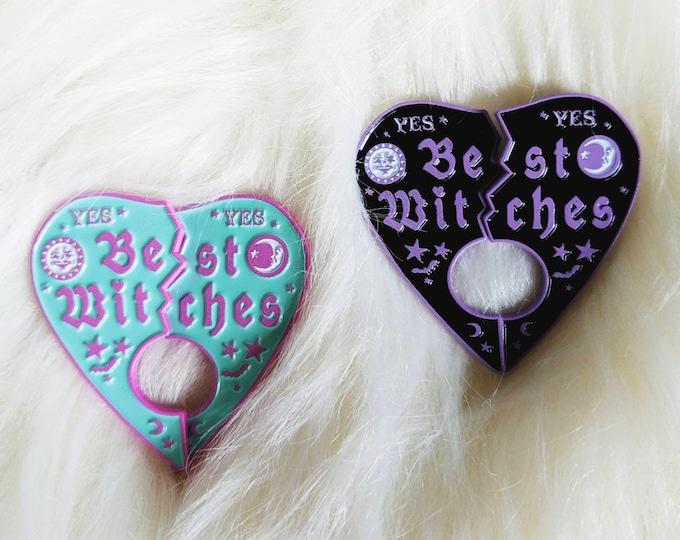 Best Witches Best Friends BFF Broken Heart Halloween enamel pins
