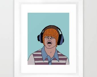 "Bill Haverchuck Freaks and Geeks Hand Drawn 8x10"" Print"