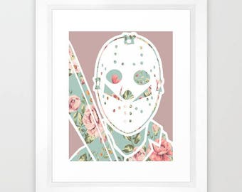 Floral Jason Voorhees Friday the 13th Horror Print 8x10""