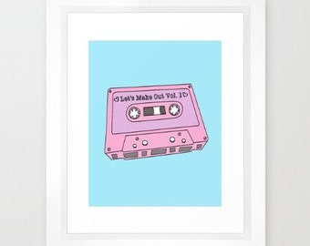 Let's Make Out Mixtape 90's Retro Poster