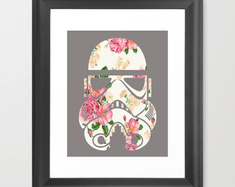 "Floral Star Wars Stormtrooper Design 8x10"" Art Print"