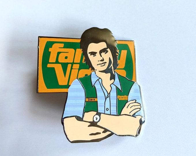 Steve Harrington Season 4 Stranger Family Video enamel pin