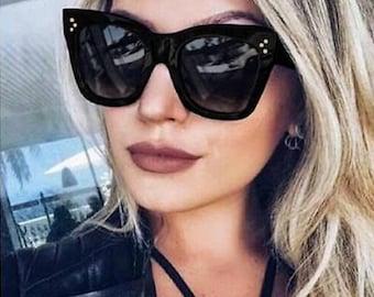 New! The Lindsay Sunglasses Women's Oversized Large Wayfarer Sunnies Black or Brown Frames