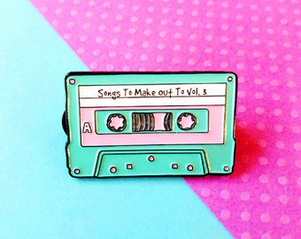 Retro Cassette Tape Make Out Mix Enamel Lapel Pin