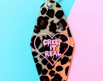 Creep It Real Leopard Print Plastic Motel Keychain