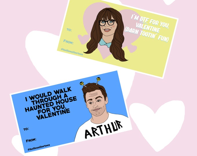 New Girl Nick and Jess Valentine's Day Cards Digital Downloads TV Funny
