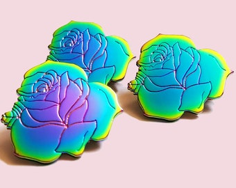 Rainbow Enamel Multi Color Rose Lapel Pin Cute