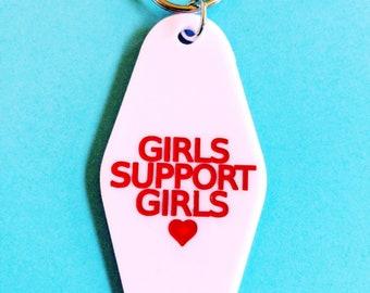 Girls Support Girls Heart Retro Motel Hotel Feminist Keychain Key Tag